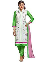 PS Enterprise Off White Chanderi Cotton Embroidery Work Unstitched Dress Material With Dupatta - 7DMK011
