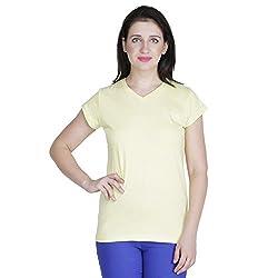 RAMPWALK Women's V Neck Top ( FYIAW15-TP01-01-99-10-04, Yellow, Medium )