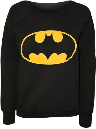 The Home of Fashion Damen Schwarz Batman Superhero Jumper Sweater (SM (36-38))