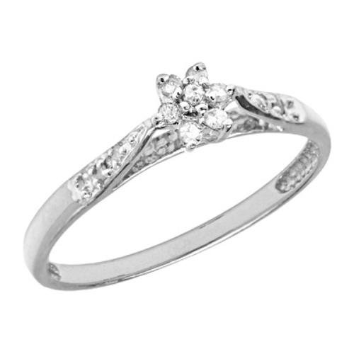 10K White Gold Flower Cluster Diamond Promise Ring