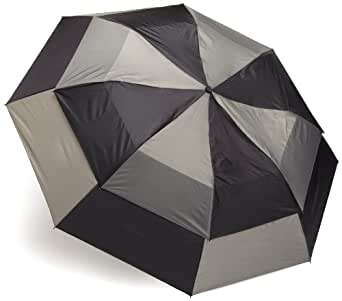 "Totes Men's Blue Line Golf-Size Vented Canopy Compact Umbrella (56"" Canopy, Black/gray)"