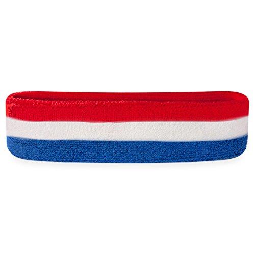 Suddora Stripes Head Sweatband (Red White and Blue) (Red White Blue Headband compare prices)