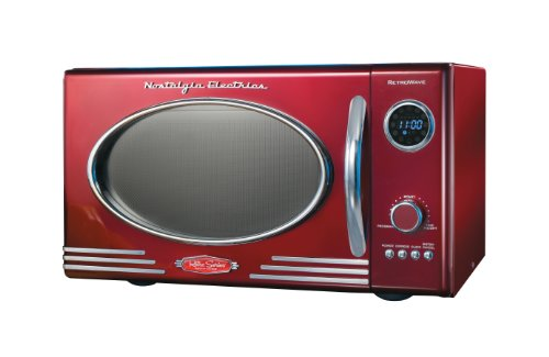 Nostalgia RMO400RED 0.9 Cu. Ft. Red Retro Countertop Microwave