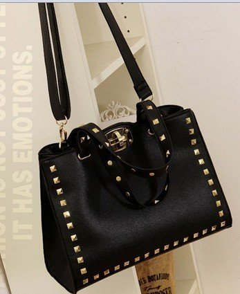 Fashion Metal Twist Buckle Rivet Pu Leather Handbag Messenger Bag