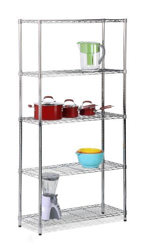 Honey-Can-Do SHF-01443 5-Tier Shelving Holds 200-Pounds per Shelf, 72-Inch, Chrome