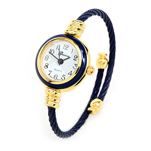 Navy Blue Gold Geneva Cable Band Women'S Small Size Bangle Watch