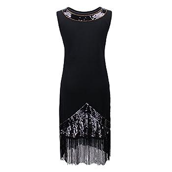 PrettyGuide Women's 1920s Vintage Beads Sequin Fireworks Fringed Flapper Gatsby Dress