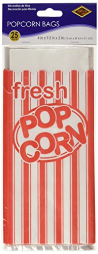 Beistle 57822 25-Pack Popcorn Bags (Red And White Popcorn Bags compare prices)