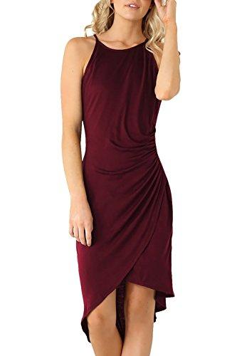 "Eliacher Women's Summer Spaghetti Strap Sleeveless Casual Bodycon Midi Dress Wine Large (Bust  86-90cm/33.90-35.40"", Waist 74-78cm/29.10-30.70"", Length 114cm/44.90"")"
