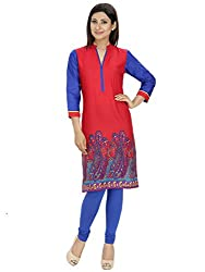 Tanvi Red & Blue Cotton Straight Kurti For Women