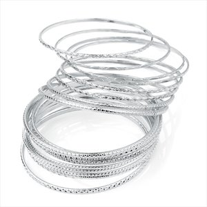 Ladies 18 Piece Silver Colour Dazzling Bangle Set Brand New