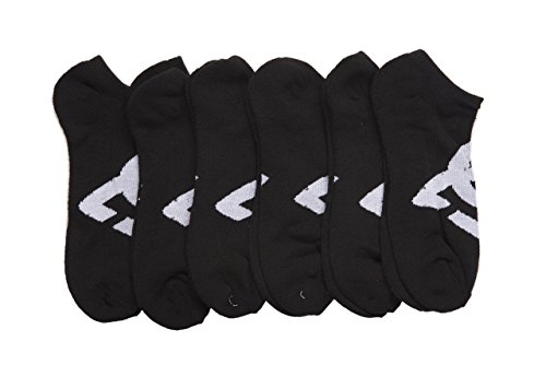 DC 6-Pack Men's Sport No Show Socks Assorted, 10-13 Size (Shoe Size 6-12.5) (Black)