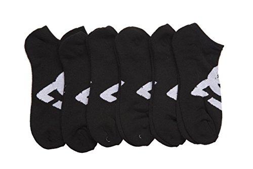 DC 6-Pack Men's Sport No Show Socks Assorted, 10-13 Size (Shoe Size 6-12.5) (Black)