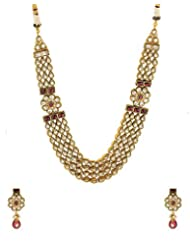 Voylla Gold Tone Necklace Set Embedded With Shiny White CZ An D Red Stones
