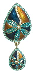 DollsofIndia Stone Studded Laquered Leaf Shaped Brooch - Stone and Metal - Blue, Brown