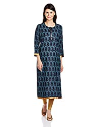 Mother Earth Women's Straight Kurta (EVL-CN3/4-13B_Indigo_M)