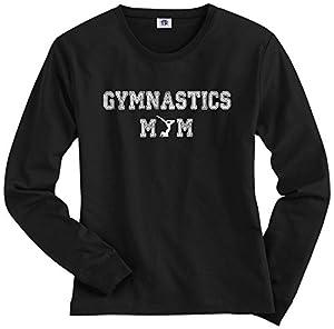 Threadrock Women's Gymnastics Mom Long Sleeve T-shirt L Black