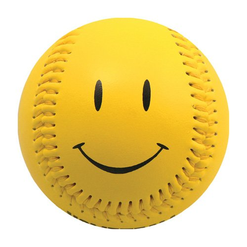 Yellow Smiley Face T-Ball (Rubber Core) - 1