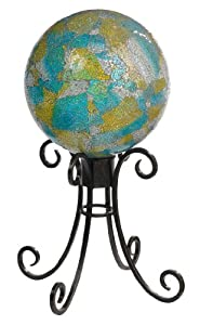Grasslands Road Mosaic Gazing Ball on Metal Stand, 8-Inch,