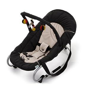 Hauck 633724 - Mecedora para bebés con arco de juegos, diseño de Mickey Mouse (bebés hasta 9 meses o 9 kg), color negro y beige