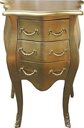 Casa Padrino Barock Kommode Gold H 70 cm, B 50 cm - Nachttisch Schrank mit 3 Schubladen