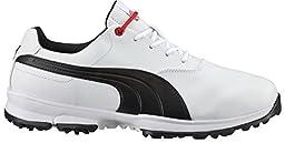 PUMA Men\'s Ace Golf Shoe, White/Black/High Risk Red, 12 M US
