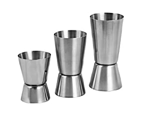 Set of 3 Sizes - Stainless Steel Double Measuring Cocktail Jiggers by ChefLand