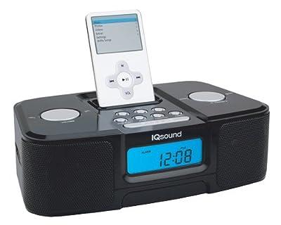 Iq Sound Iq-1307 Black Digital Alarm Clock Am Fm Radio Ipod Docking Station by IQ Sound