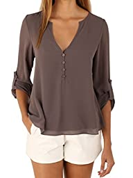 Choies Womens V-Neck Button Detail D…