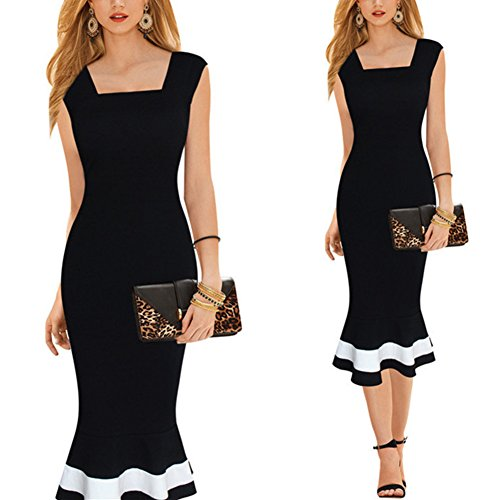 Sant-Fe-Casual-Fashion-Womens-Victoria-Long-Dress-Classic-Black-Fishtail-Skirt-Dresses
