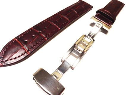 Crocodile embossed D buckle leather watch belt band Brown Brown 19 mm