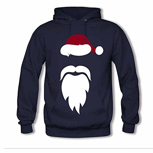 Santa Red Hat White Mustache Beard Women's Hoodies XXL
