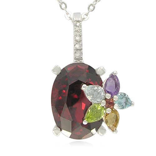 Sterling Silver Oval-Shaped Created Garnet with Multi-Gemstone Flower Pendant Necklace , 18.5