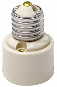 Leviton 2005 Medium-Medium Base, One-Piece, Adapters/Extensions, Incandescent, Glazed Porcelain Lampholder, White