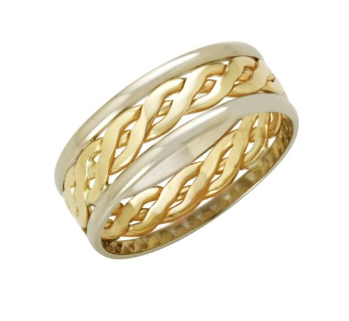 Wedding Ring, Celtic Style 9 Carat Two-Colour Gold, 7mm Band Width