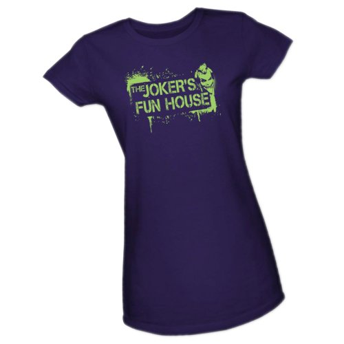 Joker's Fun House -- Batman Arkham City Crop Sleeve Fitted Juniors T-Shirt