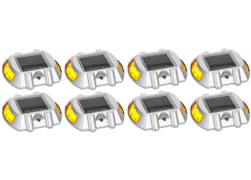 Solar Road Path Deck Dock Warning Lights With Yellow Leds (8 Pack)