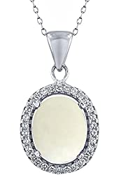 2.40 Ct Oval Cabochon White Opal 925 Sterling Silver Pendant