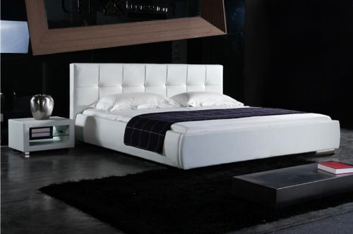 kaufen sie billig leder design bett 39 loft 39 180 x 200 wei inkl lattenrost moderne betten best buy. Black Bedroom Furniture Sets. Home Design Ideas