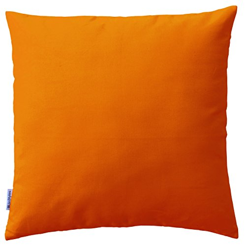 Jinstyles Soft & Thick Cotton Canvas Accent Decorative Throw Pillow / Cushion Covers (Solid Orange, Square, 1 Sham For 18 X 18 Inches Inserts)