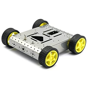4WD Robot Smart Car Chassis Kits metal. For Arduino. ROBOTICS. SILVER. 41PLsBn9eQL._SY355_