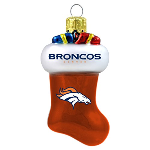 NFL Denver Broncos Blown Glass Stocking Ornament