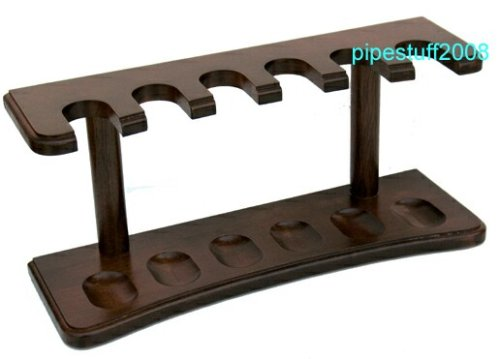 Solid Walnut Tobacco Pipe Rack - Holds 6 pipes