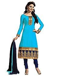 Fashion Dream Womens Cotton Dress material ( Chanderi Blue_Blue_Freesize )