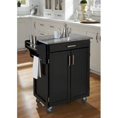 Black Kitchen Cart with Grey Granite Top