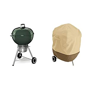 Weber 14407001 Original Kettle Premium Charcoal Grill, 22-Inch, Green with Classic Accessories Cover