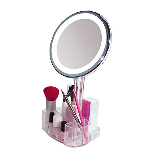 Magnifying Lighted Makeup Mirror 7x Round Led Portable Illuminated Bathroom Mirror Vanity