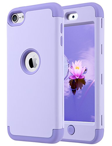 iPod Touch 6 Case,iPod Touch 5 Case,ULAK 3 in 1 Anti-slip iPod Touch Case Hard PC+Soft Silicone Hybrid Dust Scratch Shock Resistance Cover for iPod touch 5 6th Gen(Purple) (Ipod 5 Cases Protective For Girls compare prices)