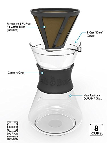 Cafe-Brew-PO108-BLACK-8-Cup-Pour-Over-Coffeemaker-with-Permanent-Filter-40-oz-Black