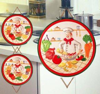 Ceramic Chef Kitchen Decor Stove Burner Covers Set of 4 Burner Covers